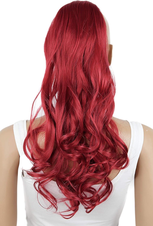 Prettyshop parrucchino - Extensiones de pelo tipo cola de caballo de 60cm resistente al calor, diseño ondulado rosso #3100 HC22-1