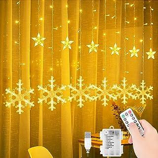Rideau Lumineux, 3.5M 138 LED Guirlande Lumineuse de Flocon de neige, 8 Modes d'Eclairage IP44, pour Salle, Fenêtre, Maria...