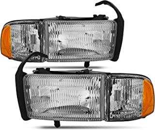 For Dodge Ram Pickup 1500 2500 3500 Headlights w/Corner Replacement Driver + Passenger Side Pair Set