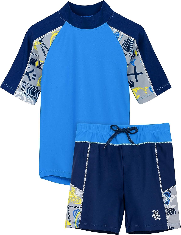 Tuga Boys Two-Piece Portland Mall Short Jacksonville Mall Sleeve Swimsuit Set UPF 50 Years 2-14