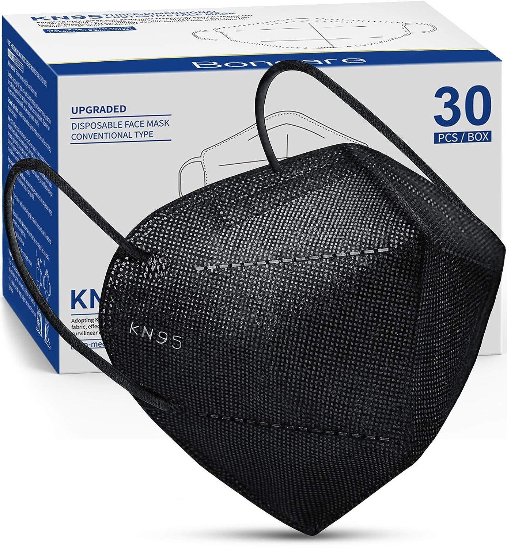 Boncare KN95 Face Mask 30 PCs, 5-Layer Black Face Mask for Men & Women, Updated Breathable, Comfortableable