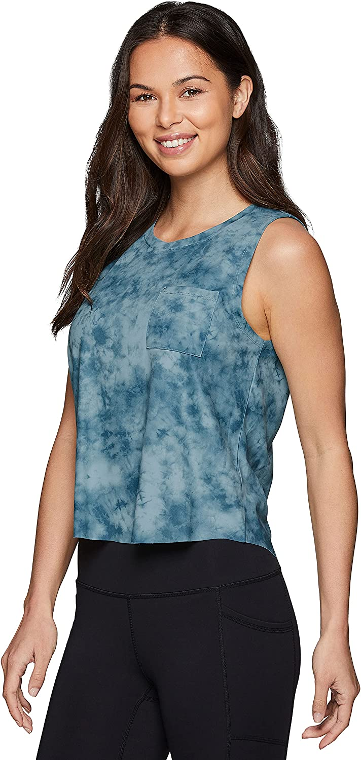 RBX Active Workout Tank Tops for Women, Fashion Soft Crop Tank with Crew Neck