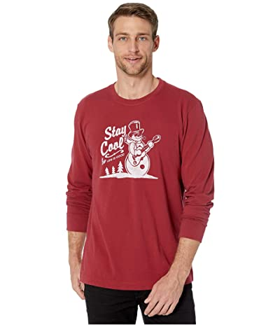 Life is Good Stay Cool Snowman Long Sleeve Crushertm Tee (Cranberry Red) Men