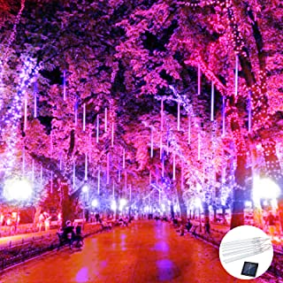 Lalapao Solar Outdoor String Lights Meteor Shower Rain Lights Falling Raindrop Light Red White and Blue 8 Tubes 288 LED Ca...