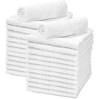 "Talvania White Cotton Washcloths - Pack of 24 - Super Absorbent Bathroom Face Towels - 12"" x12"" Terry Bath Wash Cloth Set - Spa Home Cleaning Towel Multi-Purpose - 100% Ring Spun Cotton"