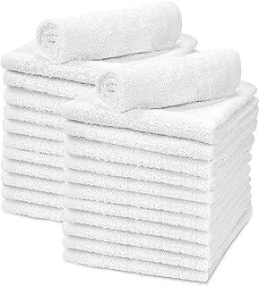 "Talvania White Cotton Washcloths - Pack of 24 - Super Absorbent Bathroom Face Towels - 12"" x12"" Terry Bath Wash Cloth Set ..."