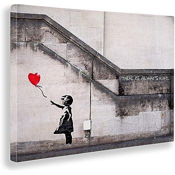 Giallobus Banksy 50 X 70 Cm Quadro Stampa su Tela Canvas Donna Pulizie