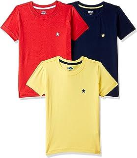 Amazon Brand - Jam & Honey Boy's Plain Regular fit Cotton T-Shirt