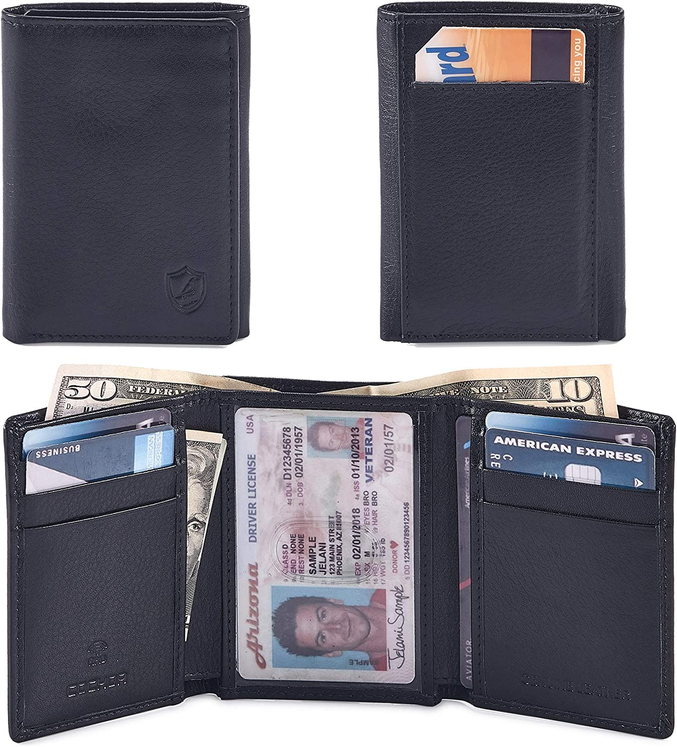 Real Leather Trifold Wallet for Men RFID Blocking Front Pocket Minimalist Slim Design With ID Window Gift Box