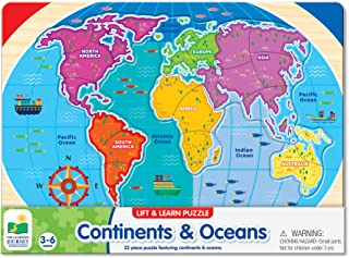 The Learning Journey: Lift & Learn Continents & Oceans - World Map Puzzle for Kids - Award Winning Toys