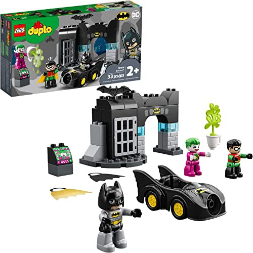 wholesale LEGO DUPLO Batman Batcave 10919 Action Figure Toy for sale Toddlers; sale with Batman, Robin, The Joker and The Batmobile; Great Gift for Super Hero Kids Who Love Imaginative Play, New 2020 (33 Pieces) online sale
