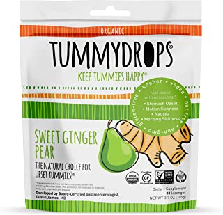 Sweet Ginger Pear Tummydrops (Resealable Bag of 33 Individually Wrapped Drops) Certified Oregon Tilth USDA Organic, Non-GMO Project, GFCO Gluten-Free, and KOF-K Kosher