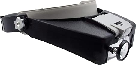Zega Crafts Headband Magnifier w/ 3 Multi-Depth Magnifying Lenses & Detachabe Worklight