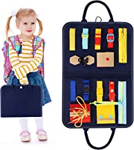 HAN-MM Busy Board Montessori Toys for Toddlers Foldable Sensory Toys Autism Toys Bag Design, Toddler Activity Board - Educ...