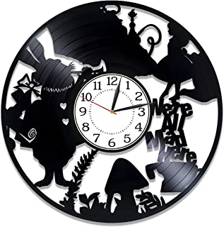 Kovides We're All Mad Here Vinyl Record Clock Walt Disney Handmade Clock Alice in Wonderland Wall Clock 12 Inch for Kids Movie Original Home Decor Alice in Wonderland Birthday Gift Idea