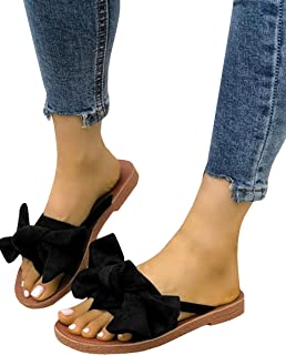 FISACE Womens Slip On Flip Flops Ring Toe Strappy Summer Gladiator Flat Sandals