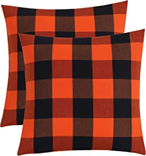 Pack of 2 Buffalo Checkered Plaid Pillow Covers 20x 20 Classic Orange and Black Polyester Cotton Soft Throw Pillow Covers Decorative for Farmhouse Couch, Bed, Sofa (orange and black, 20 X 20 inch)