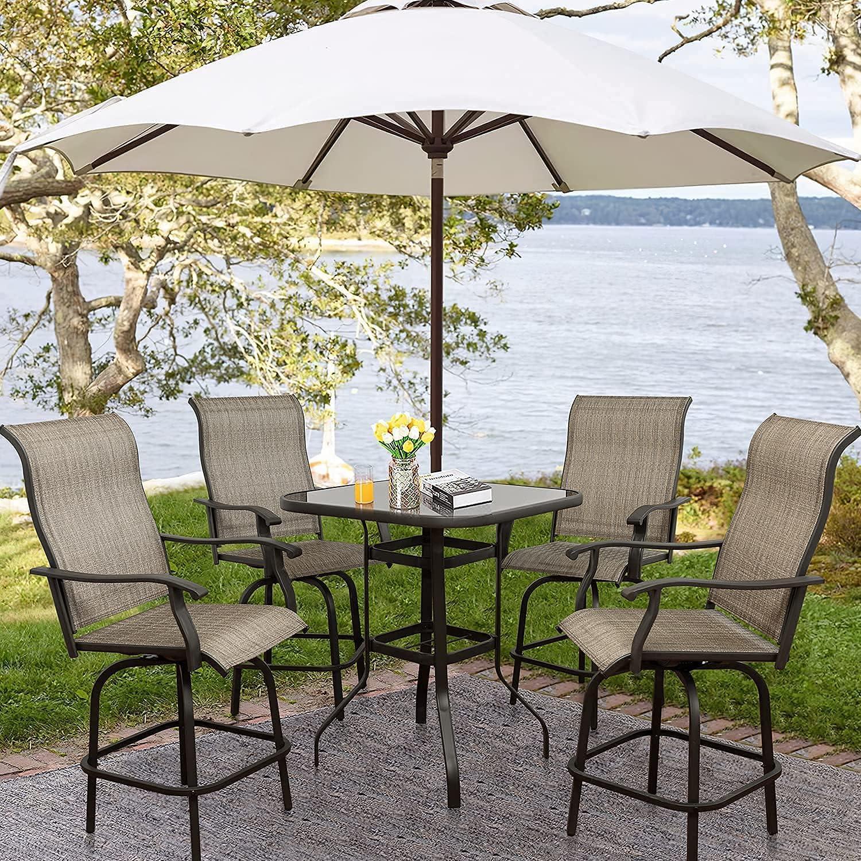 Buy 10 PCS Outdoor Patio Bar Stools Swivel Bistro Set, Bar Chairs ...