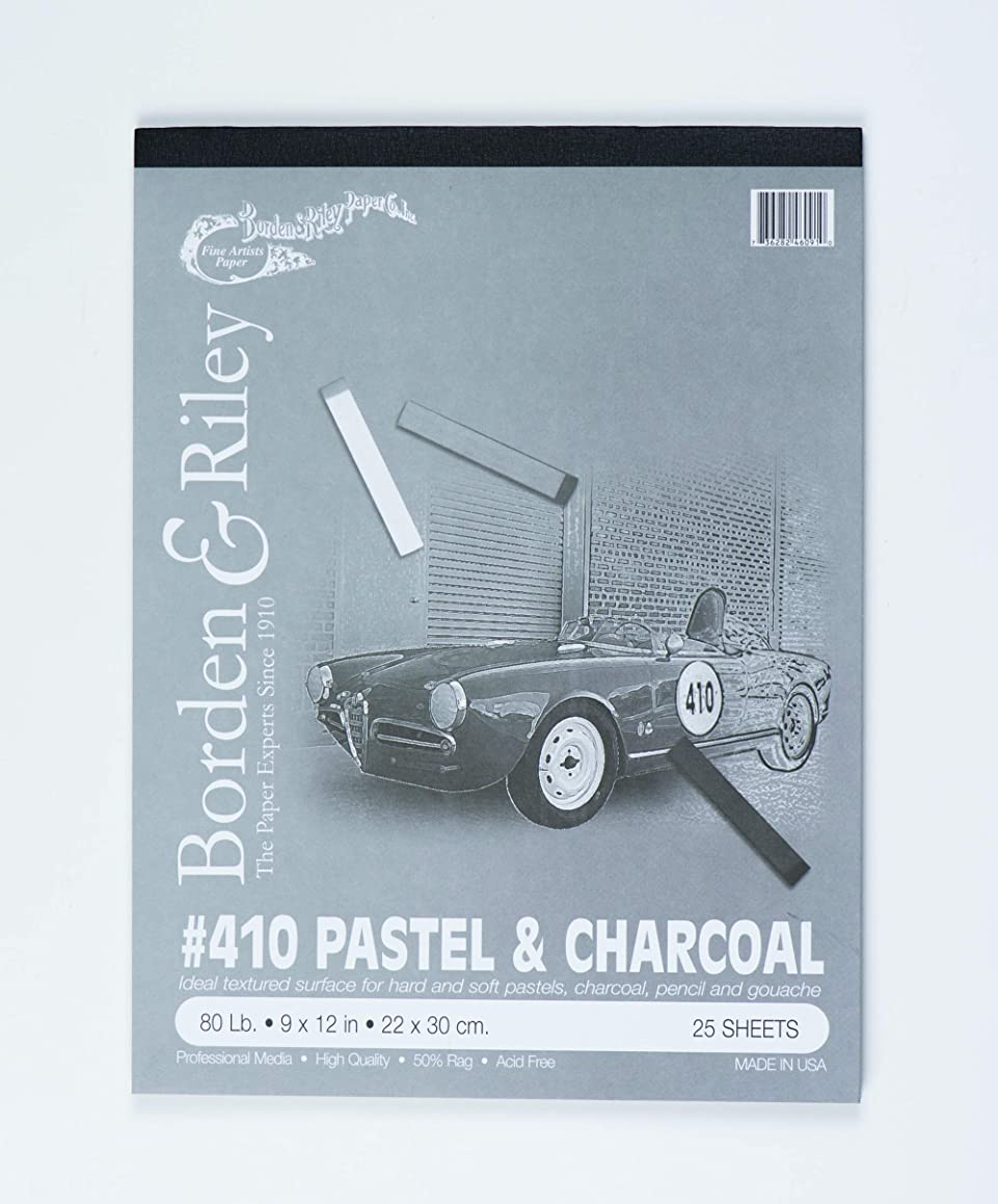 Borden & Riley #410 Charcoal and Pastel Pad, 9 x 12 Inches, 80 lb, 25 Portrait-Gray Sheets, 1 Pad Each (410P091225)