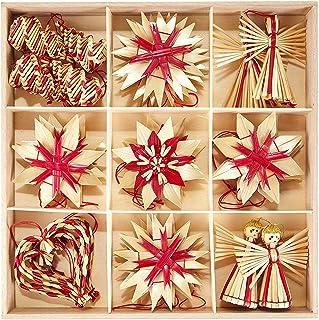 HEITMANN DECO Navidad - Juego de 25 Decoraciones navideñas para Colgar en Paja y Materiales Naturales con Detalles Rojos - Decoraciones para árboles de Navidad