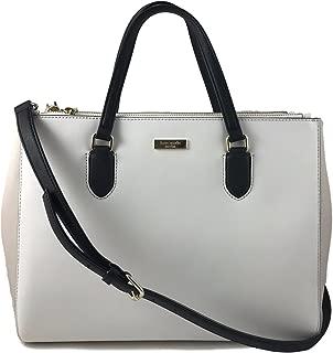 Kate Spade Leighann Laurel Way Saffiano Leather Tote Shoulder Bag Purse Handbag for Work School Office Travel, Cream Black