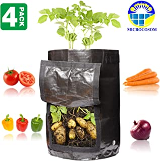 Microcosom Potato Vegetable Planter Grow Bags 10 Gallon with Handles and Easy to Open Access Flap, Potato Vegetable Planter Grow Bag, 4-Pack 10 Gallon Smart Grow Bags for Potato/Plant