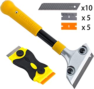 Heavy Duty 4-inch Razor Blade Scraper with Long-Handle, Wallpaper Painting Stripping Tools, Cleaning Glass Wall Scraper, Floor Tile Adhesive Removal, with Mini Razor Scraper Tool.