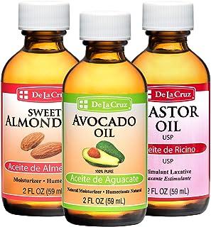 De La Cruz Sweet Almond Oil + Castor Oil + Avocado Oil, Expeller-Pressed, Non-GMO, Bottled in USA (Three 2 FL. OZ. Bottles)