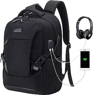 Tzowla Travel Laptop Backpack Waterproof Business Work School College Bag Daypack with USB Charging&Headphone Port for Men Women Boy Girl Student Durable Luggage Backpacks Fit 15.6/17Inch(Black)