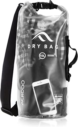 Acrodo Waterproof Dry Bag - 10 & 20 Liter Floating Dry Sacks for Beach, Strong & Durable Outdoor Bags for Kayaking, S...