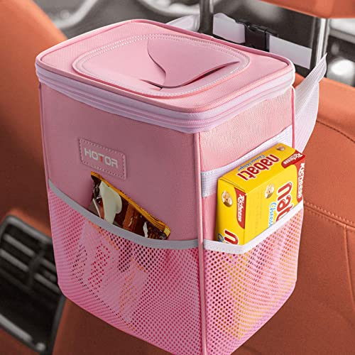 HOTOR Car Trash Can with Lid and Storage Pockets, 100% Leak-Proof Car Organizer, Waterproof Car Garbage Can, Multipur...