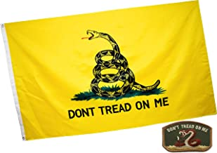 Eugenys Don't Tread On Me Flag (3x5 Feet) - Bright Colors and UV Resistant Polyester - Free Gadsden Flag Patch Included - Tea Party Flags with Brass Grommets - Perfect Banner Hanging Indoor/Outdoor