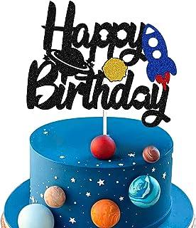زينة للكعك بتصميم صاروخ منطلق بنمط الفضاء مع كتابة «Happy Birthday»\عيد ميلاد سعيد، ديكور للحفلات بتصميم المجرة ورواد الفض...