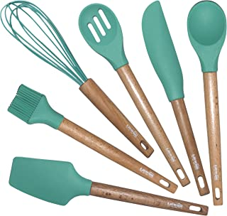 6 pcs Mini Silicone Utensil Set with Wooden Handles-Great for Baking, Cooking and Scraping-Silicone Cooking Utensils Kitchen Utensil Set has all Cooking Tools for Nonstick Cookware-Cook Safely-No BPA