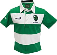 Traditional Craft Limited Emerald/White Stripe Ireland Short Sleeve Kids Rugby Shirt
