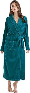 Women's Fleece Bathrobe Long Shawl Collar Plush Robe