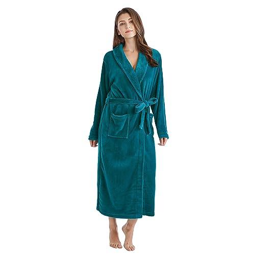 Women s Fleece Bathrobe Long Shawl Collar Plush Robe db16080eb