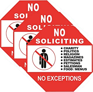 3 Set No Soliciting Sign for House - No Solicitation/Solicitors Sticker Static Cling Decal Inside Outside Window or Door 6 x 6 Inch Removable and Reusable