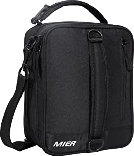 MIER Insulated Lunch Box Bag Expandable Lunch Pack for Men, Women and Kids, Black