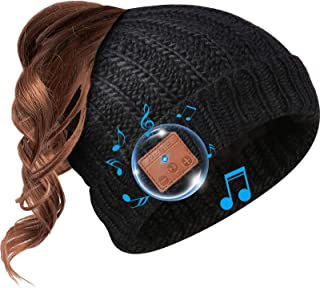 Beanie Hat Bluetooth Headphone Ponytail Warm Beanies for Women Built-in Mic (Black)