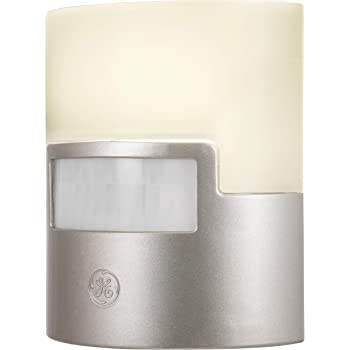 GE Silver LED Night Light, 1 Piece, Motion Sensor, 40 Lumens, Plug-in, Soft White, UL-Listed, Ideal for Bedroom, Nursery, Bathroom, 29844