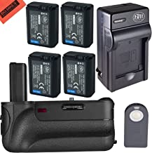 Battery Grip Kit for Sony Alpha a6000, a6300, a6500 DSLR Camera - Includes BG-3D Replacement Battery Grip + 4 BM Premium NPFW50 Batteries + Rapid AC/DC Battery Charger