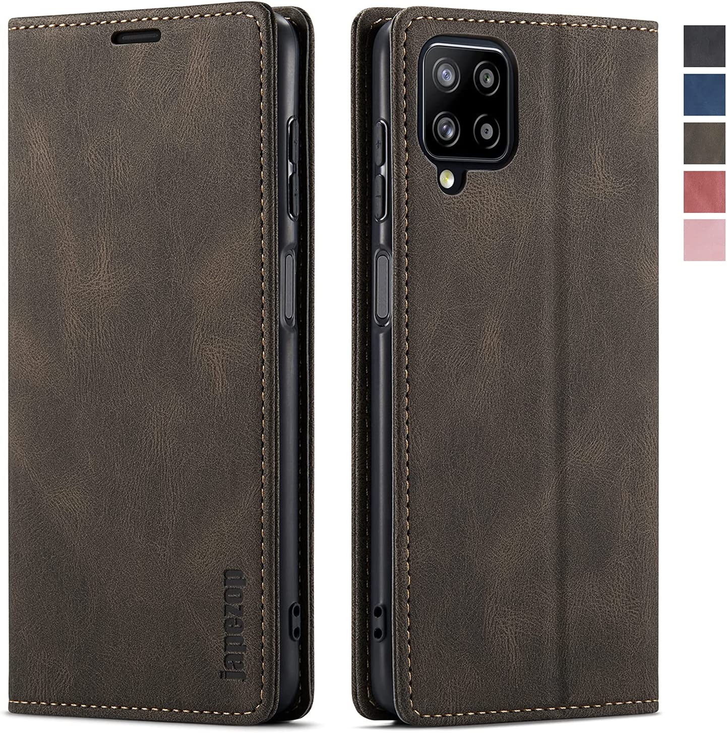 Samsung Galaxy A12 Case,Samsung Galaxy A12 Wallet Case with Card Holder [RFID Blocking] Kickstand Magnetic,Leather Flip Case for Samsung Galaxy A12 (Coffee)
