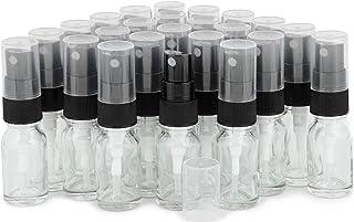 Vivaplex, 24, Clear, 10 ml (1/3 oz) Glass Bottles, with Black Fine Mist Sprayer's