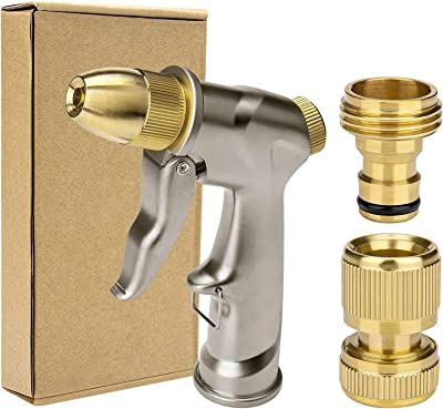 Awpeye Garden Hose Nozzle, 100% Heavy Duty Metal High Pressure Water Nozzle Spray Gun with 5 Spraying Modes for Plant Watering, Car Washing, Pets Showering, Lawns Watering