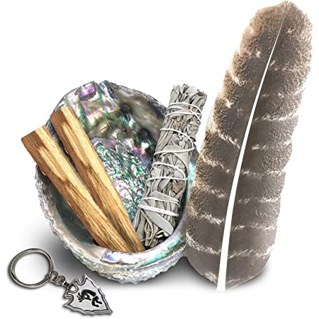Smudge Kit - White Sage, Palo Santo, Abalone Shell, Smudging Feather, Kokopelli Keychain! Healing, Purifying, Meditating & Incense (Essentials)