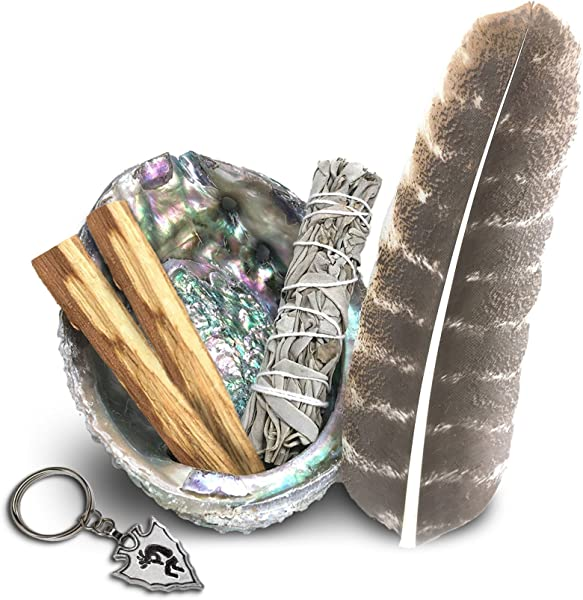 JL Local Smudge Kit Sage Palo Santo Abalone Shell Feather More Healing Purifying Meditating Incense