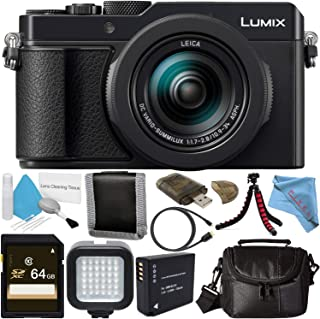 Panasonic Lumix DC-LX100 II Digital Camera (Black) + DMW-BLG10 Lithium Ion Battery + 64GB SDXC Card + Small Soft Carrying Case + Flexible Tripod + Micro HDMI Cable + Deluxe Cleaning Kit Bundle