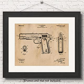 Original Colt 1911 Gun Patent Poster Prints, Set of 1 (11x14) Unframed Photo, Wall Art Decor Gifts Under 15 for Home, Office, Garage, Man Cave, College Student, Teacher, Cowboys, NRA & Movies Fan