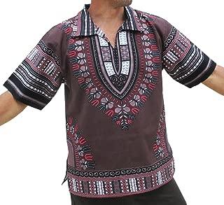 RaanPahMuang 欧领短袖非洲大麻印花衬衫
